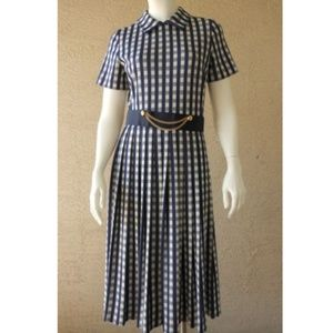 Career Dress Navy Blue & White Check VTG 1960's